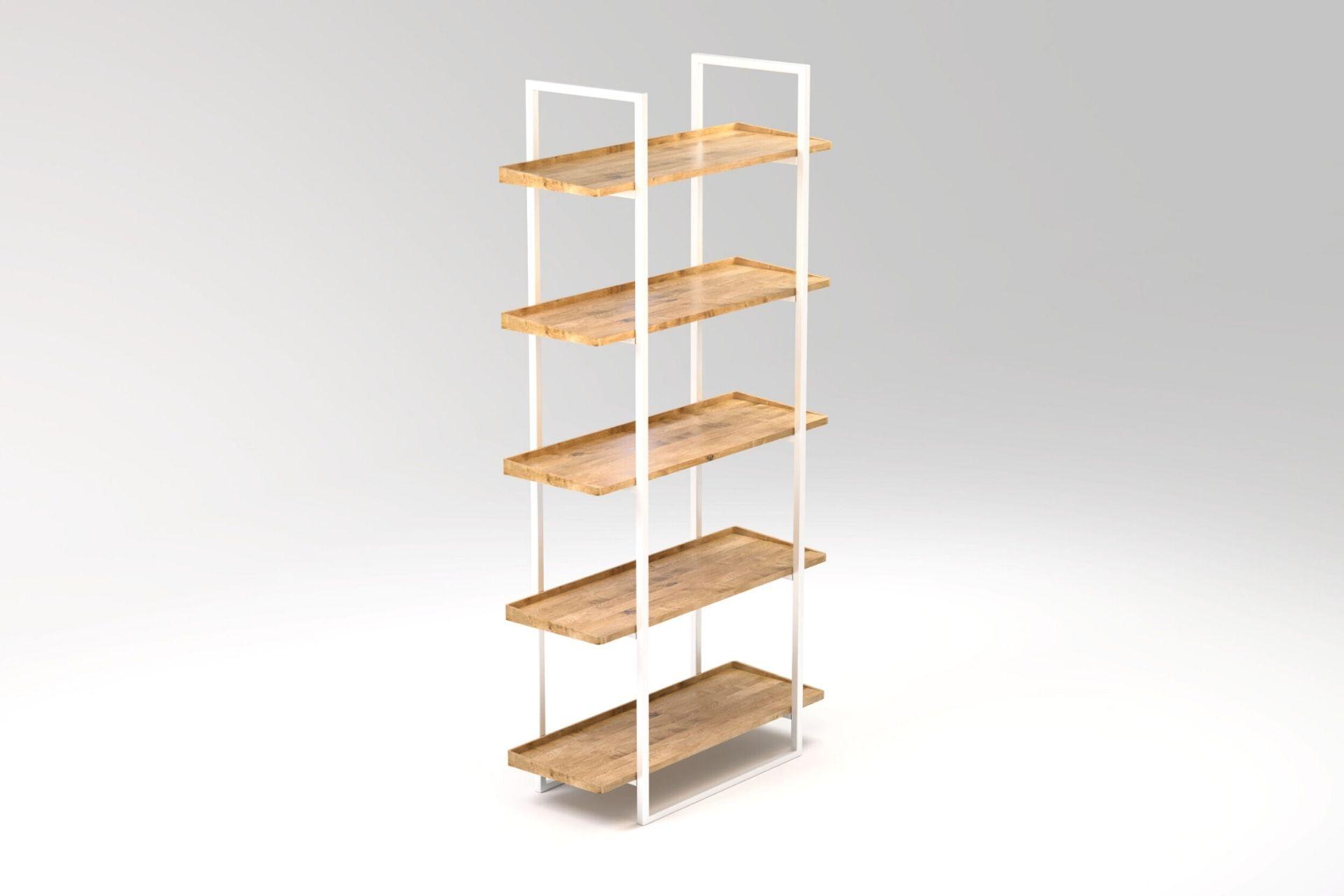 1_Bücherregal aus Stahl und massiver Eiche