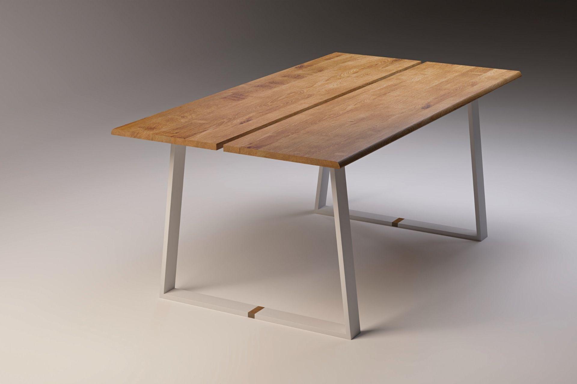 2_SLICE WHITE Moderner Esstisch aus Massivholz weiß